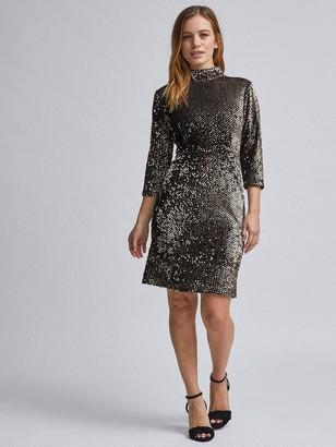 Dorothy Perkins Petite Black & Gold Sequin Midi Dress - Black/Gold