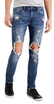 GUESS Men's Skinny-Fit Stretch Destroyed Jeans