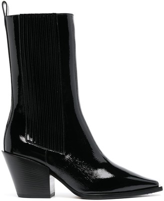 AEYDĒ Ari patent leather mid-calf boots