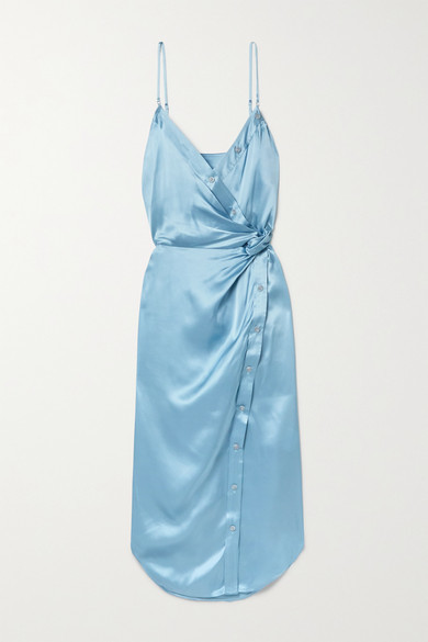 alexanderwang.t Wrap-effect Knotted Silk-charmeuse Midi Dress - Sky blue