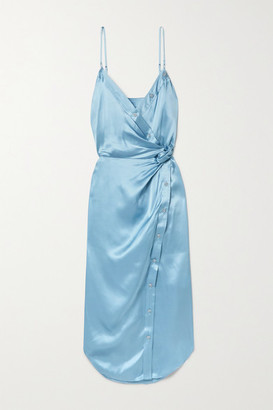 Alexander Wang Wrap-effect Knotted Silk-charmeuse Midi Dress - Sky blue
