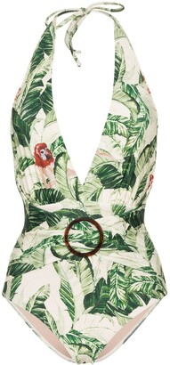 Adriana Degreas Tropical Print Belted Swimsuit