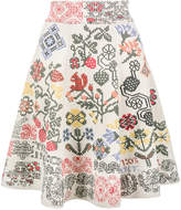 Alexander McQueen graphic floral intarsia knitted skirt