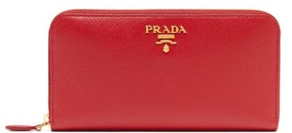 Prada Logo-plaque Saffiano-leather Continental Wallet - Red