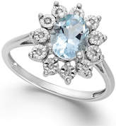 Macy's Aquamarine (1 ct. t.w.) and Diamond Accent Ring in 14k White Gold