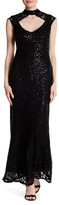 Marina Lace Mock Neck Gown