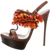 Burberry Embellished T-Strap Sandals