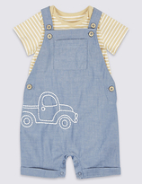 Marks and Spencer 2 Piece Bodysuit & Dungarees Outfit