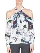 Erdem Aila Printed Silk Cold-Shoulder Blouse