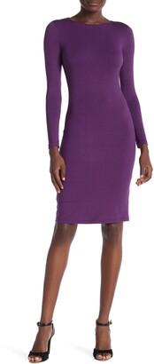 Velvet Torch Long Sleeve Bodycon Midi Dress