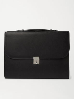 Valextra Pebble-Grain Leather Briefcase - Men - Black