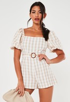 Missguided Petite Stone Gingham Belted Milkmaid Playsuit