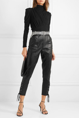 Isabel Marant Cadix Lace-up Tapered Leather Pants - Black