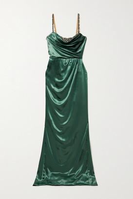 Marchesa Draped Crystal-embellished Velvet Gown - Green