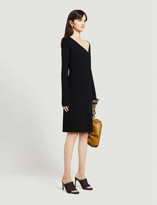 Bottega Veneta Asymmetric-neckline woven midi dress