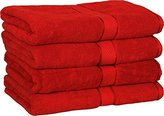 Ringspun Utopia Towels 30x56 Inches Luxury Cotton Bath Towels, 4 Pack, Red