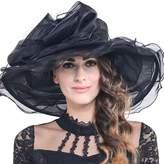 FORBUSITE Women Kentucky Derby Church Dress Organza Hat Wide Brim Flat Hat S601