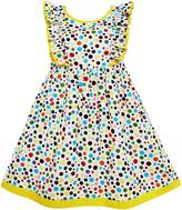 Sunny Fashion FZ43 Girls Dress Polka Dot Overlap Design With Trim