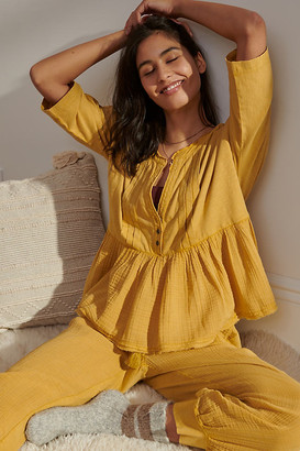 Anthropologie Beverly Pajama Top By in Gold Size 1 X