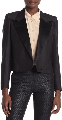 Suistudio Cropped Peak Lapel Tuxedo Jacket