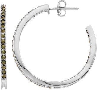 Unbranded Sterling Silver Marcasite Hoop Earrings
