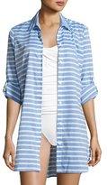 Tommy Bahama Breton Stripe Boyfriend Beach Shirt, Blue