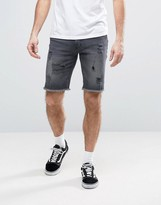Asos Denim Shorts In Skinny With Rips In Washed Black