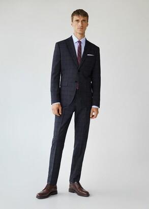 MANGO MAN - Slim fit check suit blazer china blue - 36 - Men