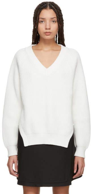 Alexander Wang Off-White Strap Deep V-Neck Sweater