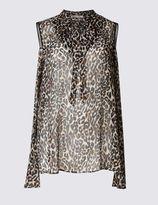 Marks and Spencer Leopard Print Cold Shoulder Blouse