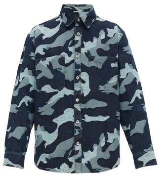 Valentino Camouflage Jacquard Distressed Denim Jacket - Mens - Blue