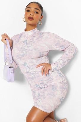 boohoo Plus Tie Dye High Neck Detail Bodycon Dress