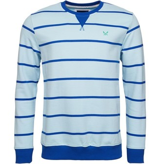 Crew Clothing Mens Stripe Crew Neck Sweat Blue/Cobalt