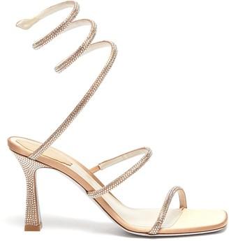Rene Caovilla Cleo strass coil anklet satin sandals