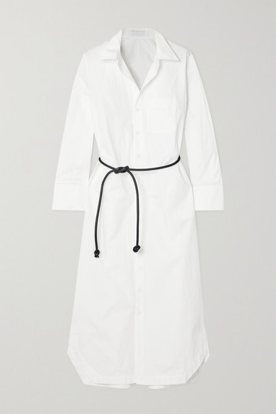 Thumbnail for your product : Roland Mouret Kartini Belted Cutout Embroidered Cotton-poplin Shirt Midi Dress - White