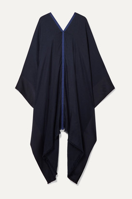 Loro Piana Faille-trimmed Silk And Cashmere-blend Poncho - Midnight blue