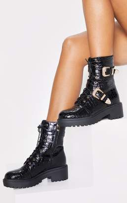 PrettyLittleThing Black Patent Croc Western Buckle Cleated Boot