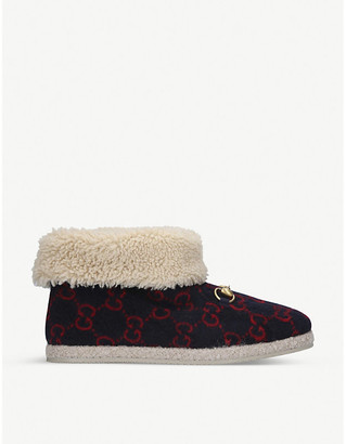 Gucci Fria GG-woven wool ankle boots