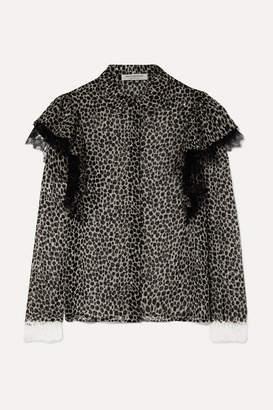 Philosophy di Lorenzo Serafini Lace-trimmed Ruffled Animal-print Chiffon Blouse - Gray