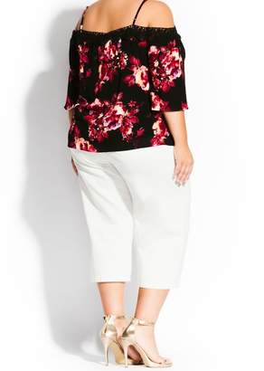 City Chic Monet Cold Shoulder Embroidered Rose Top (Plus Size)