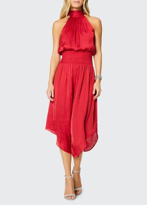 Ramy Brook Bella Smocked-Waist Midi Halter Dress