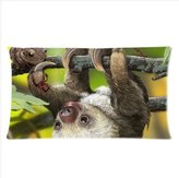 Pillowcase 2421 Sloth And His Animal Friends Pillowcase,Cute Sloth Pillowcase,Two Side Pillowcase Pillow Cover 20x36 inches