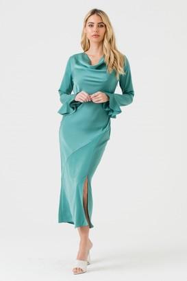 Liena LIENA Sage Green Cowl Neck Midi Dress with Open Back