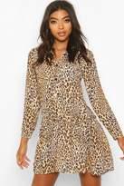 boohoo Tall Leopard Print Woven Smock Dress