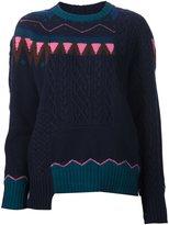 Sacai Nordic intarsia patchwork sweater