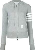 Thom Browne striped detail zipped hoodie - women - Cotton - 38