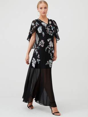Very Cape Embellished Maxi Dress - Black/Multi