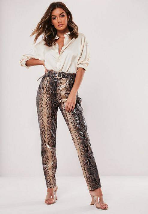 Missguided Tall Brown Snake Print Vinyl Cigarette Pants
