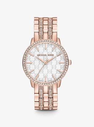 Michael Kors Ladi Nini Logo Rose Gold-Tone Watch