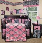 Minky Sisi Custom Baby Bedding - Pink Zebra 15 PCS Crib Bedding